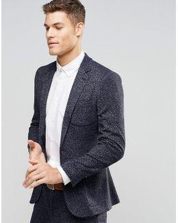 Super Skinny Suit Jacket In Navy Neppy Jersey