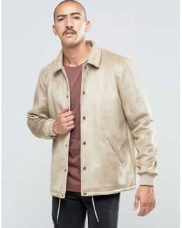 Faux Suede Coach Jacket In Stone