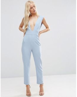Structured Plunge Jumpsuit