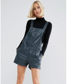 Leather Look Pinafore Playsuit