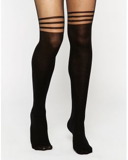 3 Stripe Over The Knee Tights With Support