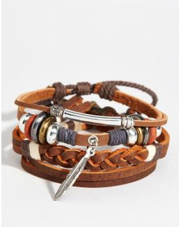 Leather Bracelet Pack With Feather