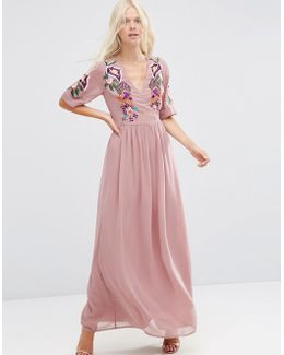 Premium Wrap Maxi Dress With Embroidered Peacock And Flower Detail