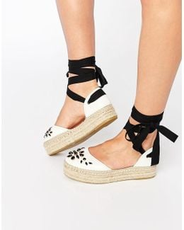 Leather Embellished Espadrille