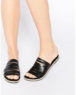 Jackie Black Leather Strappy Espadrille Flat Slider Sandals