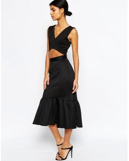 Scuba Midi Skirt With Tiered Hem