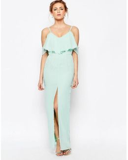 Frill Maxi Dress With Split Front