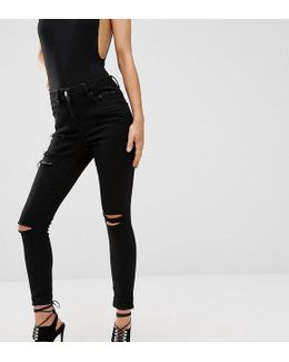 Ridley High Waist Skinny Jeans In Black With Shredded Rips