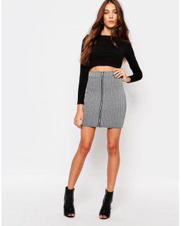 Zip Front Ribbed Mini Skirt