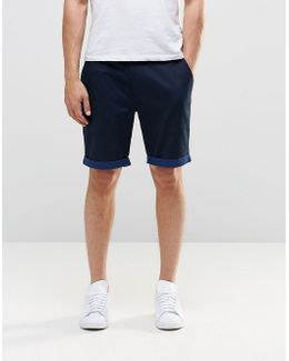 Tailored Shorts With Turn Up In Navy Poplin