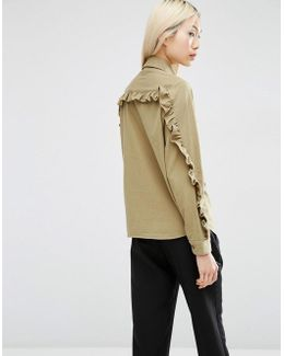 Casual Shirt With Ruffle Sleeve