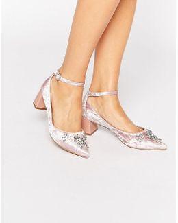 Grand Embellished Velvet Ankle Strap Point Mid Heeled Shoes