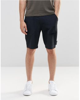 Long Length Smart Shorts In Navy With Pinstripe