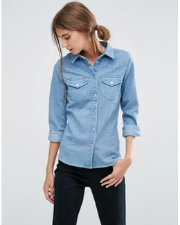 Denim Fitted Western Shirt In Light Wash Blue
