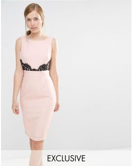 V Back Pencil Dress With Lace Trim