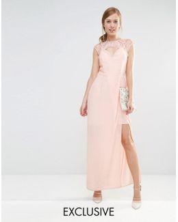 Sweetheart Maxi Dress With Eyelash Lace Trim