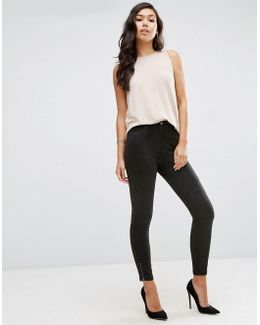High Waisted Skinny Trousers With Biker Knee