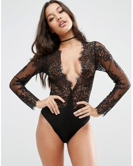 Lucy Microfibre & Delicate Lace Plunge Body