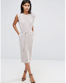 Belted Midi Dress With Split Cap Sleeve And Pencil Skirt