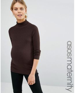 High Neck Jumper In Rib