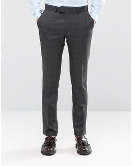 Camden Super Skinny Suit Trousers In Charcoal Overcheck