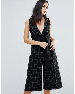 Plaid V-neck Jumpsuit W/ Tie Front