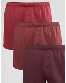 Woven Boxers In Burgundy 3 Pack Save 14%