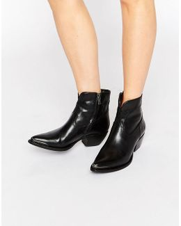 Shane Tip Short Western Leather Heeled Ankle Boots