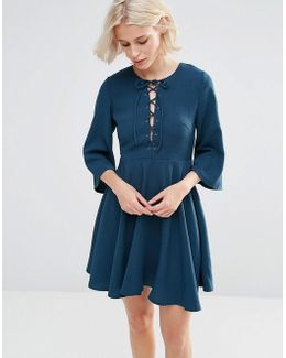Fluted Sleeve Dress With Strap Detailing