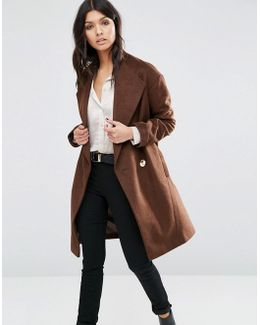 Cocoon Wrap Coat With Contrast Button