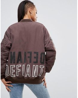 Oversized Bomber Jacket With Logo Print