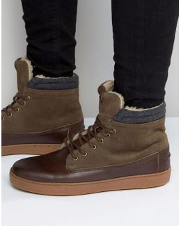 Divi Leather High Top Sneakers In Brown Leather