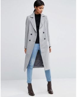 Wool Blend Coat With Raw Edges And Pocket Detail