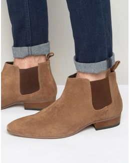Kg By Kurt Geiger Ankle Chelsea Boots In Tan Suede