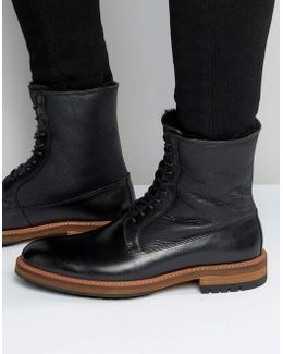 Scibelli Lace Up Boots In Black Leather