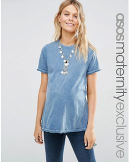 T-shirt With Fringed Hem And Cuff Detail