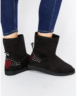 Black Embellished Faux Suede Pull On Boots