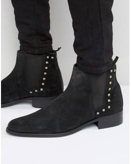 Chelsea Boots In Black Suede With Studs