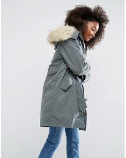 Parka With Ma1 Styling And Removable Fur Liner