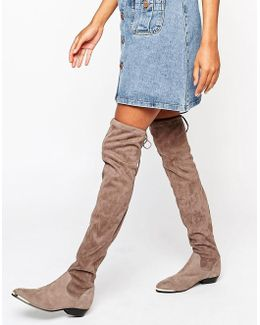 Hideout Tipped Stretch Suede Flat Over The Knee Boots