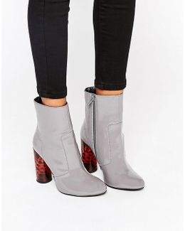 Animal Sock Heeled Ankle Boots