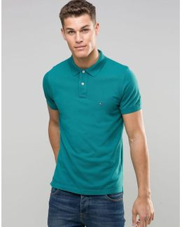 Polo Shirt In Slim Fit Green - Shaded Spr