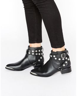 Danny Black Leather Studded Tipped Ankle Boots