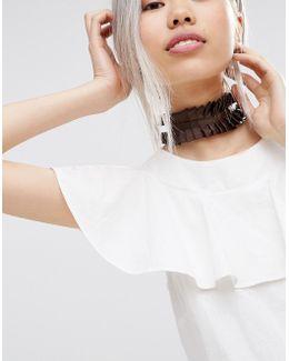 Wide Ruffle Choker Necklace