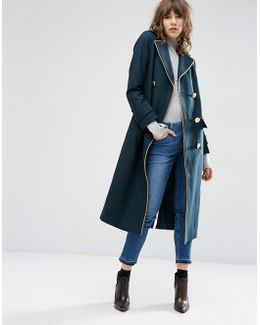 Wool Blend Coat In Midi Length With Military Details