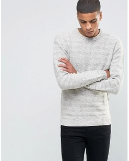 Textured Striped Crew Neck