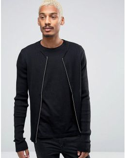 Ribbed Zip Through Crew Neck