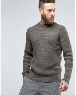 Jumper In Wool Mix With Mixed Ribs