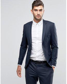 Premium Skinny Suit Jacket In Navy