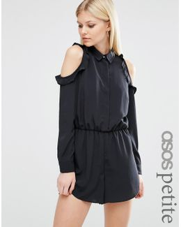 Cold Shoulder Playsuit With Ruffles